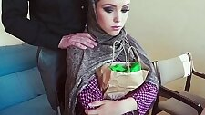 Muslim amateur hot teen slut fucks for cash and tastes jizz