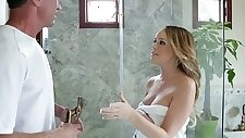 Big breasted blondie Alexis Adams taking a large dick