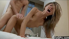 Perfect puny teenager gets hard rail by a thick hard
