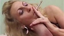 Smoking Mature Gives nice Blowjob To A Fat Cock