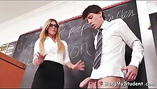 Hot teacher india summer whips out student cock in detention