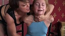 Bondage femdom facefucks sub with round huge strapon