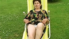 Granny spotted and fucked very hard by the pool