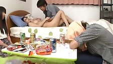 Japanese with perfect big tits fucking a friend while her boyfriend sleep