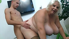 Huge tits blonde chick gets doggystyled