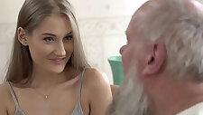 Teen beauty vs old grandpa Tiffany Tatum and Albert