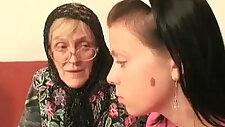 Hot babe helps granny sucks fat cock