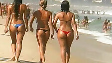 Sexy Brazilian thong booty and Italian beach dancers