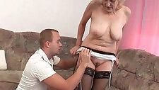 Grandma in stockings gets cum facial