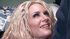 Curly blonde milf slut takes cock in her