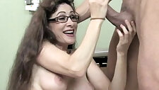 Cum hungry milf gobbles cock balls