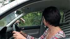 Car Troubled Granny Gets Help And Fucked