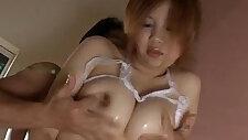 Rika Kurogawa big tits babe blows cock in the tub