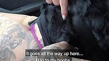 Public Agent Tattooed German Mia Blow rides cock