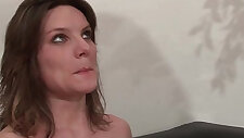Casting couch of a pretty small titted brunette analized by her boyfriend